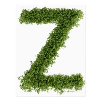 Letter 'Z' in cress on white background, 2 Postcard