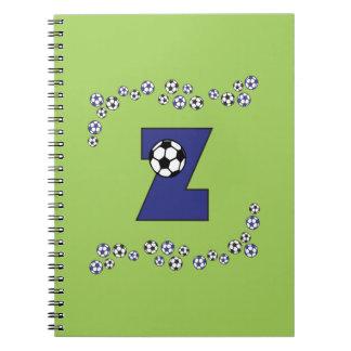 Letter Z in Soccer Blue Monogram Notebooks