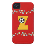 Letter Z in Soccer Gold Monogram Case-Mate iPhone 4 Case