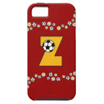 Letter Z in Soccer Gold Monogram iPhone 5 Case
