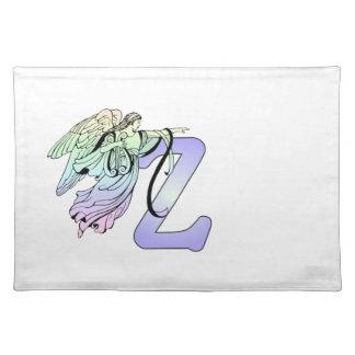 Letter Z Initial Monogram Guardian Angel Alphabet Cloth Placemat
