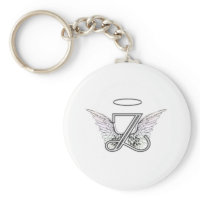 Letter Z Initial Monogram with Angel Wings & Halo Key Chain