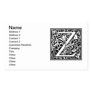 Letter Z Medieval Monogram Vintage Initial Business Card