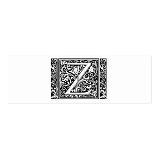 Letter Z Medieval Monogram Vintage Initial Mini Business Card
