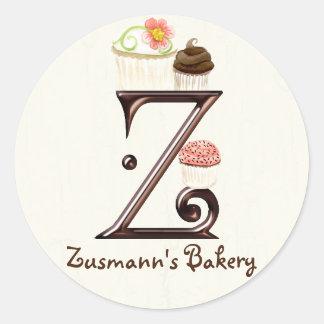 Letter Z Monogram Cupcake Logo Business Stickers