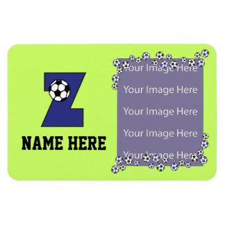 Letter Z Monogram in Soccer Blue Rectangular Photo Magnet