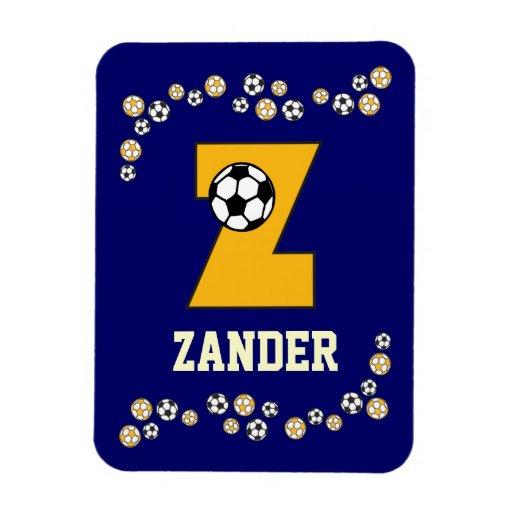Letter Z Monogram in Soccer Gold Flexible Magnet