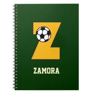 Letter Z Monogram in Soccer Gold Notebook