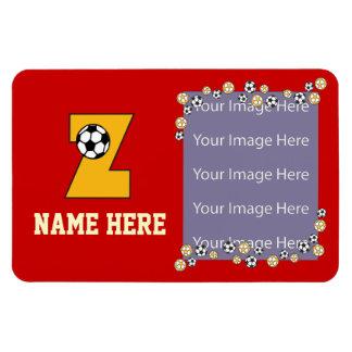 Letter Z Monogram in Soccer Gold Rectangular Photo Magnet