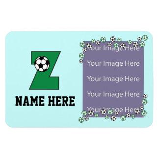 Letter Z Monogram in Soccer Green Rectangular Photo Magnet