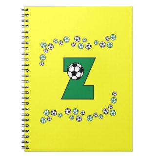 Letter Z Monogram in Soccer Green Spiral Note Book