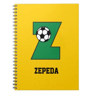 Letter Z Monogram in Soccer Green Spiral Notebooks