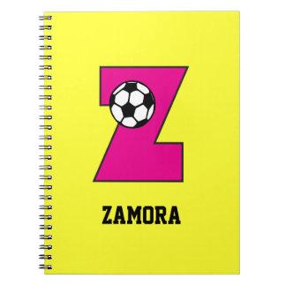 Letter Z Monogram in Soccer Pink Notebook