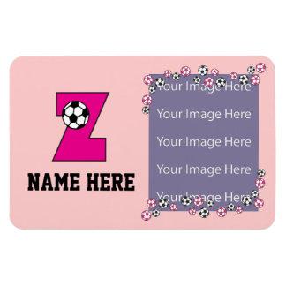 Letter Z Monogram in Soccer Pink Rectangular Photo Magnet