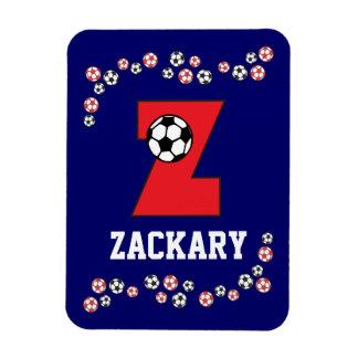 Letter Z Monogram in Soccer Red Rectangular Photo Magnet