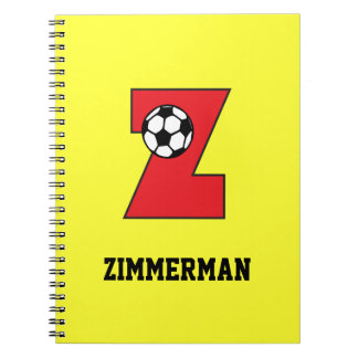 Letter Z Monogram in Soccer Red Spiral Notebooks