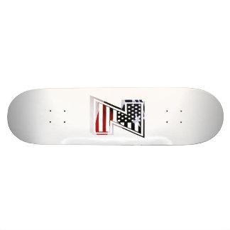 Letter Z Monogram Initial Patriotic USA Flag Skateboard