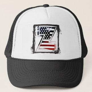 Letter Z Monogram Initial Patriotic USA Flag Trucker Hat