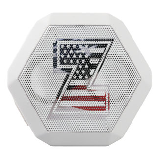 Letter Z Monogram Initial Patriotic USA Flag White Bluetooth Speaker
