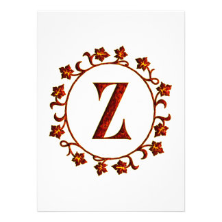 Letter Z Monogram Red Leaves Personalized Invitation