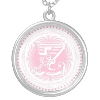 Letter Z Monogram Round Pendant Necklace