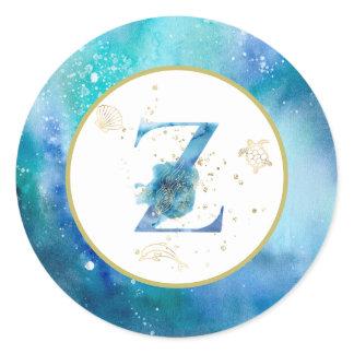 *~*  LETTER Z  - Nautical Beach Envelope  Sticker