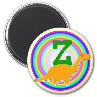 Letter Z Orange Dinosaur Diplodocus Fridge Magnet