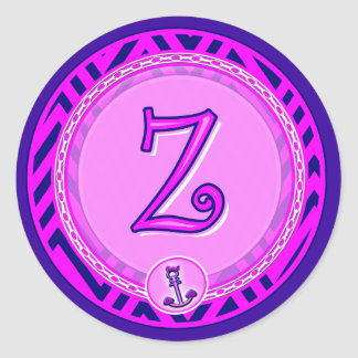 Letter 'Z' Pink Nautical Chevron w/ Anchor  - Classic Round Sticker