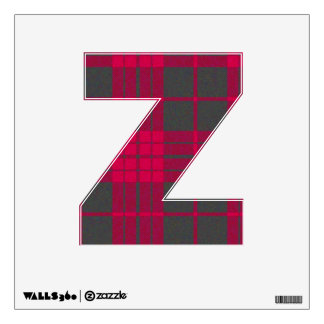 letter Z pliad tartan pink and grey punk rock emo Wall Decal