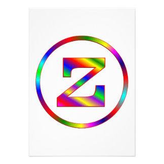 Letter Z Rainbow Custom Invite