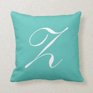 Letter Z Turquoise Monogram Pillow
