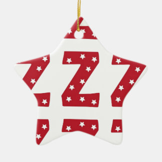 Letter Z - White Stars on Dark Red Ceramic Ornament