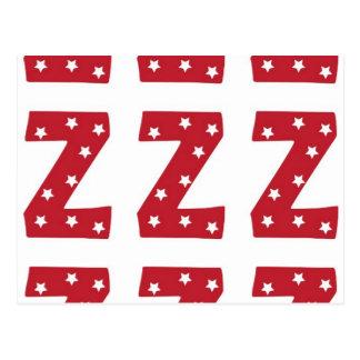 Letter Z - White Stars on Dark Red Postcard