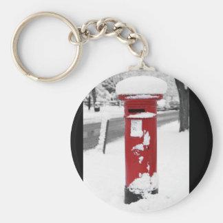 Letterbox in snow basic round button keychain