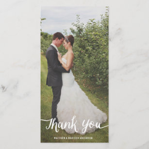 lettered overlay wedding thank you photo card - Wedding Thank You Cards
