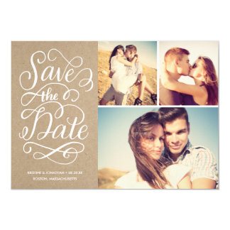 Lettered Rustic Kraft Save The Date Collage Card