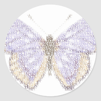 letterfly classic round sticker