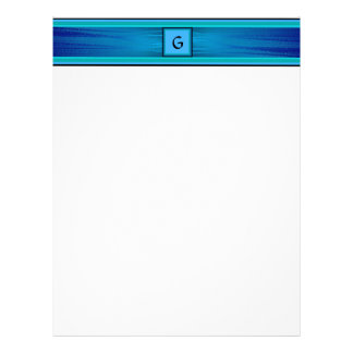 Letterhead - Blue Stripes with Initial
