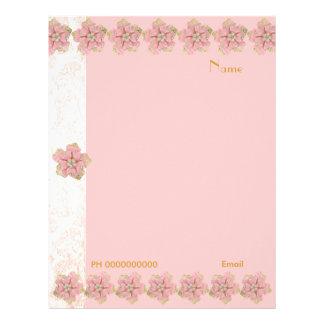 Letterhead Flower Jewel Pink Border 2