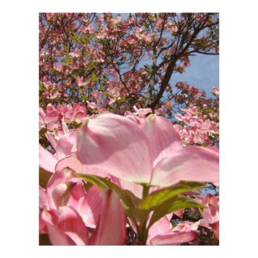 Letterhead paper Pink Dogwood Flowers Floral