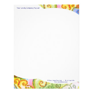 Letterhead paper with Colourful Swirly Design
