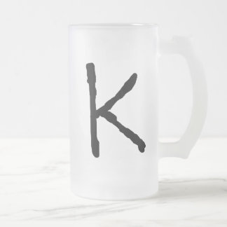 LetterK 16 Oz Frosted Glass Beer Mug