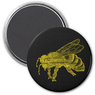 Letterpress Bee 3 Inch Round Magnet