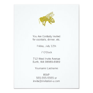 Letterpress Bee Card