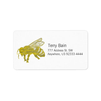 Letterpress Bee Label