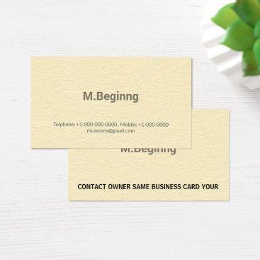 Professional Business Letterpress Cream Colored Professional Business Card