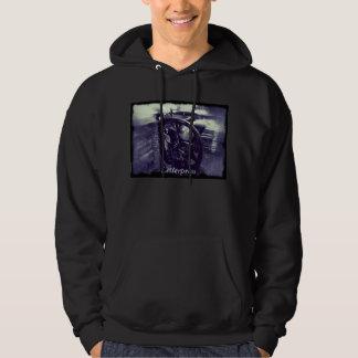 letterpress grunge with word men's hoodie