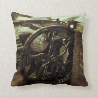 Letterpress in studio grunge throw pillow