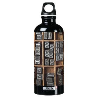 letterpress lead type in a case aluminum water bottle