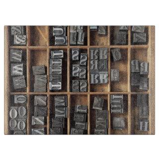 Letterpress lead type in a case cutting board